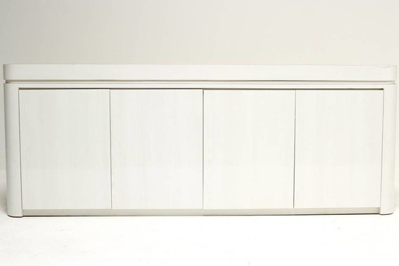 LONG WHITE CURVED SIDE LAMINATE CREDENZA