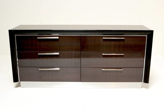 ITALIAN ROSEWOOD DOUBLE DRESSER WITH CHROME TRIM AND HARDWARE