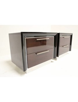 PAIR OF ITALIAN ROSEWOOD NIGHTSTANDS ON CHROME PLINTH BASE