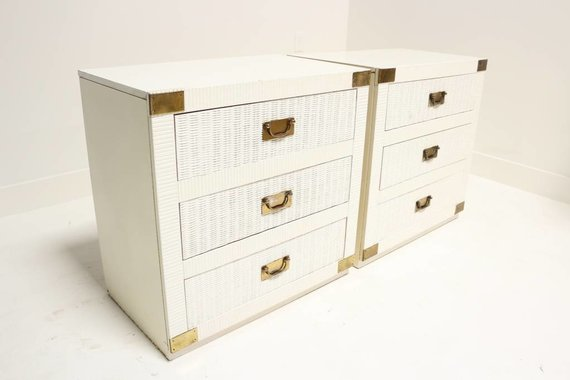 PAIR OF WICKER CAMPAIGN BACHELOR CHESTS WITH BRASS HARDWARE