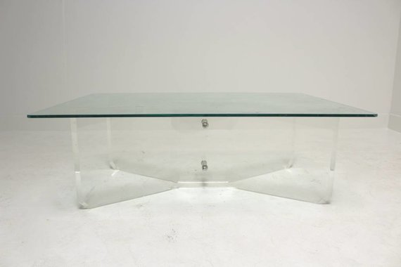 LUCITE COFFEE TABLE WITH CHROME DETAIL