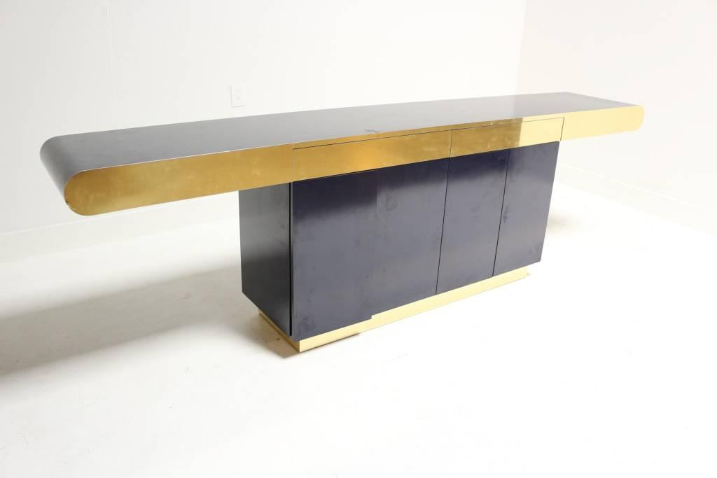 navy modern credenza with brass plinth - Modern Credenza
