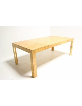 BURL WOOD DINING TABLE WITH BRASS ACCENT