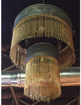 PAIR OF MOROCCAN BEADED CHANDELIERS