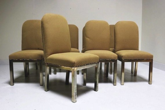 SET OF 8 CHROME BASE DINING CHAIRS