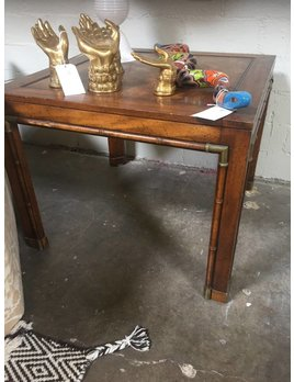FAUX BAMBOO BURL & BRASS END TABLES