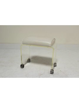 LUCITE VANITY STOOL WITH WHITE UPHOLSTERY