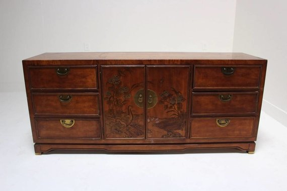 ASIAN DRESSER WITH PAINTED SCENE