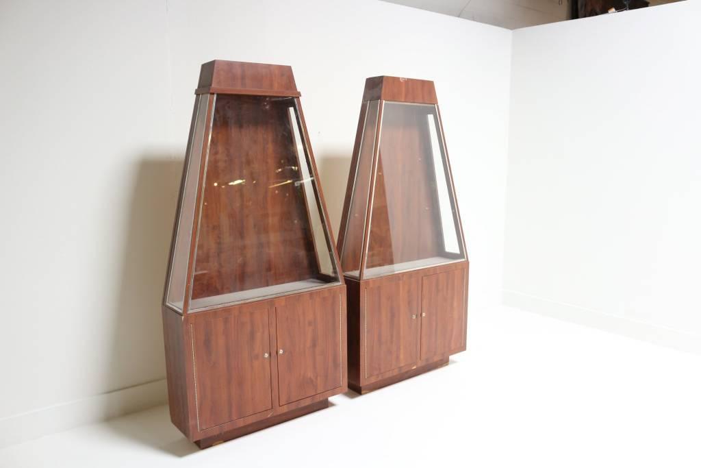 Pair Of Vintage Rosewood Display Cabinets