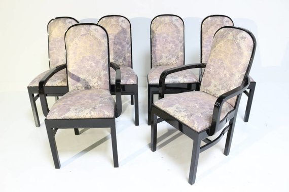 SET OF 6 BLACK LACQUER DINING CHAIRS