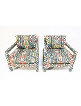 PAIR OF TRIBAL PARSON LOUNGE CHAIRS