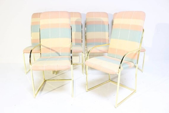 SET OF 6 DIA BRASS DINING CHAIRS