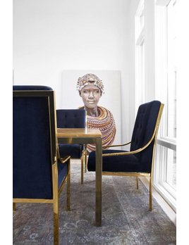 mcclain dining chair in brass and navy velvet