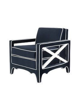 CARY CHAIR IN NAVY VELVET WITH WHITE PIPING