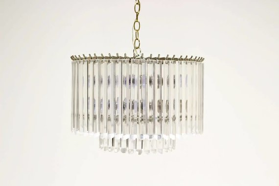 BRASS AND GLASS STACKED CHANDELIER