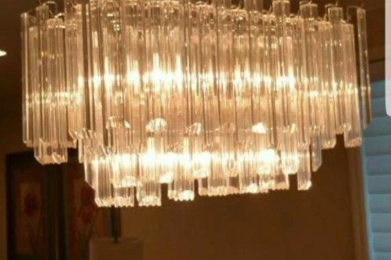 TWO TIER LUCITE CHANDELIER - RECTANGLE