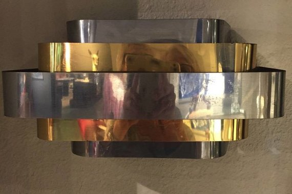 PAIR OF CHROME AND BRASS SCONCES