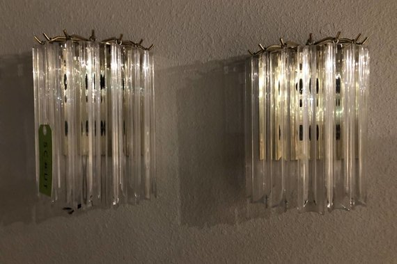 PAIR OF VINTAGE BRASS AND LUCITE SCONCES