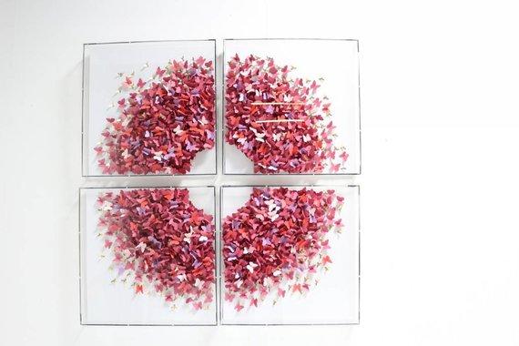 4 PANEL BUTTERFLY ART BY JEN LIN - PINK