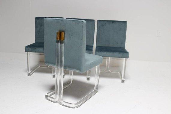 SET OF 4 CHAPIN DINING CHAIRS IN CUSTOM GREEN / GREY VELVET UPHOLSTERY