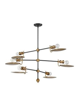 6-Light Sputnik Chandelier - Aged Brass and Flat Black