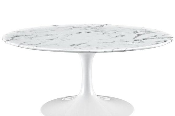 "36"" ROUND RESIN COFFEE TABLE IN WHITE"