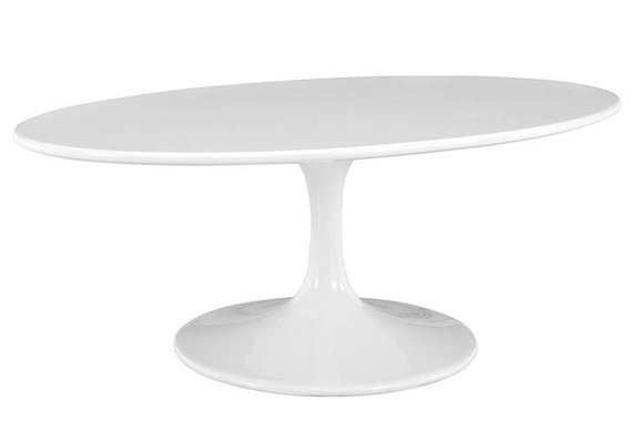 "42"" OVAL-SHAPED WOOD TOP COFFEE TABLE IN WHITE"