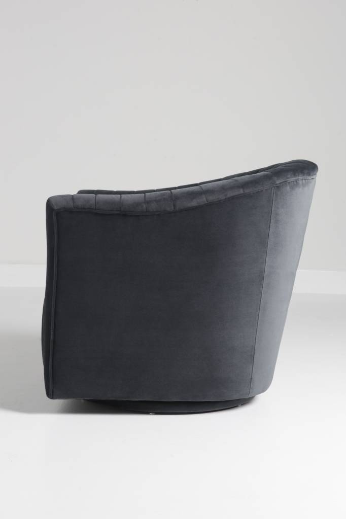 Gabe Swivel Chair In Steel Grey Velvet
