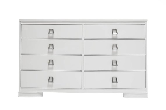 LACQUERED WHITE DOUBLE DRESSER WITH MODERN CHROME HARDWARE