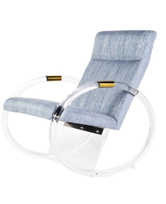 KEMPER ACRYLIC ROCKING CHAIR IN BLUE TWEED