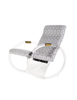 KEMPER ACRYLIC ROCKING CHAIR IN GREY GEOMETRIC FABRIC