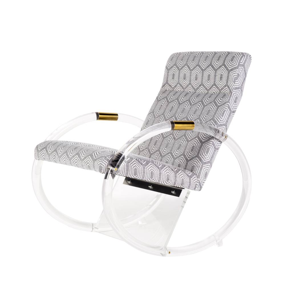 KEMPER ACRYLIC ROCKING CHAIR IN GREY AND WHITE FABRIC