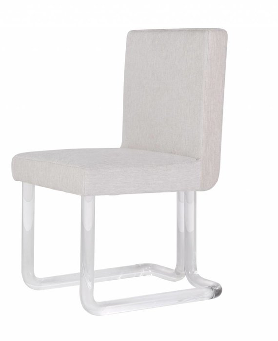 CHAPIN ACRYLIC DINING CHAIR WITH BRASS JOINTS IN NATURAL HERRINGBONE FABRIC