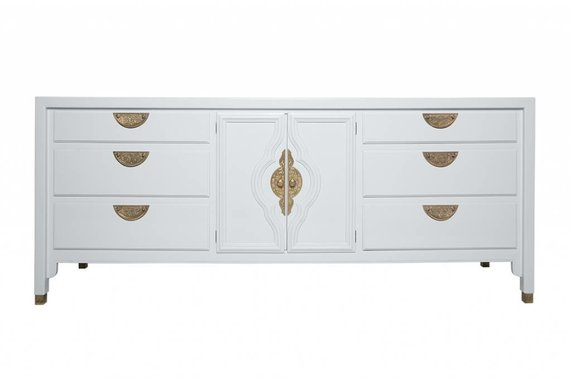 MOROCCAN STYLE CREDENZA LACQUERED IN PALE BLUE