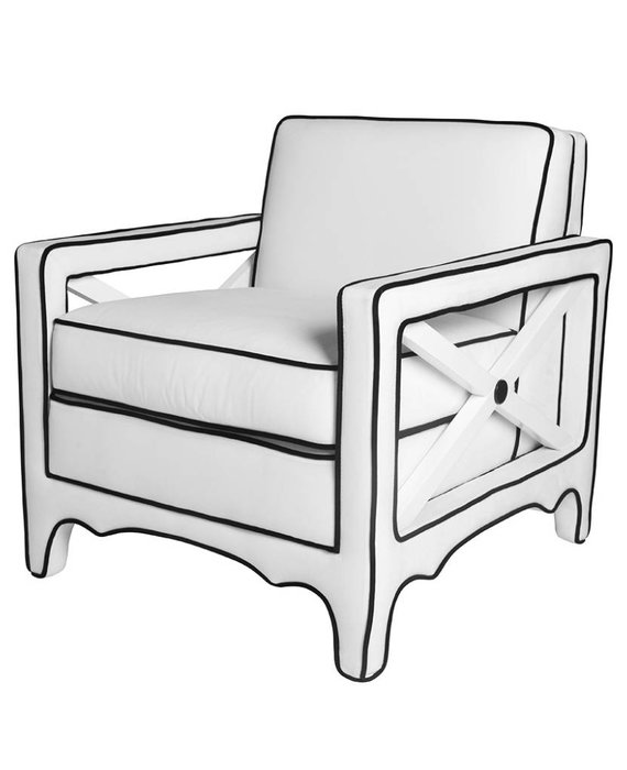 CARY CHAIR IN WHITE VELVET WITH BLACK PIPING