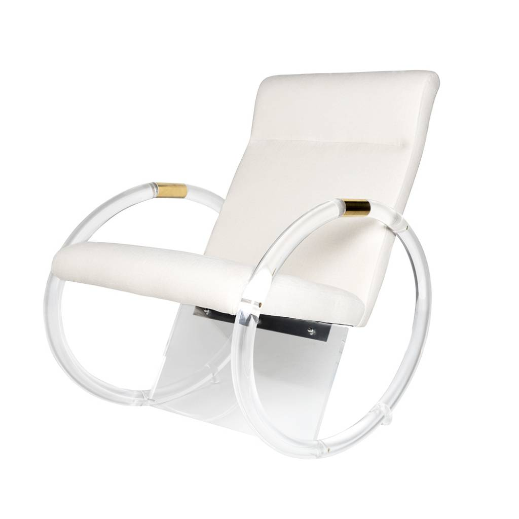 Merveilleux KEMPER ACRYLIC ROCKING CHAIR IN NATURAL HERRINGBONE