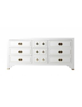 LACQUERED CENTURY CREDENZA WITH DOUBLE RING HARDWARE