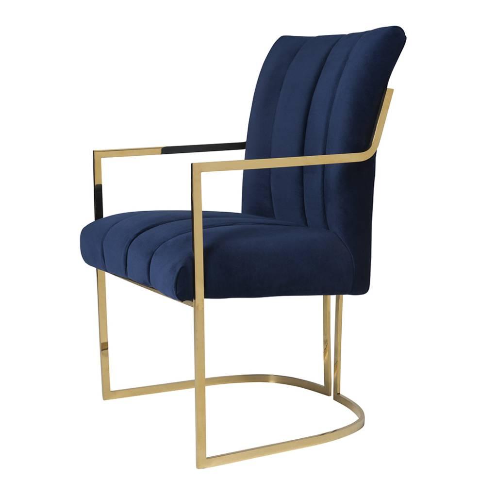 Comal Dining Chair In Navy Velvet Scout Design Studio