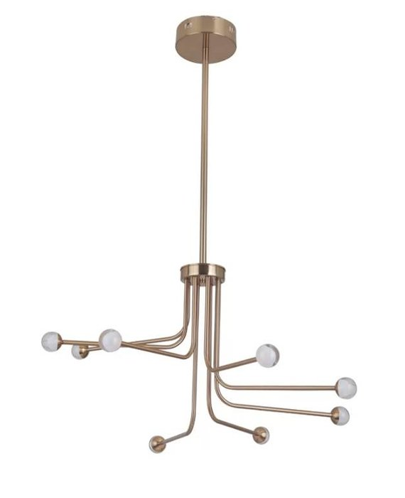 8-Light LED Sputnik Chandelier - Satin Brass