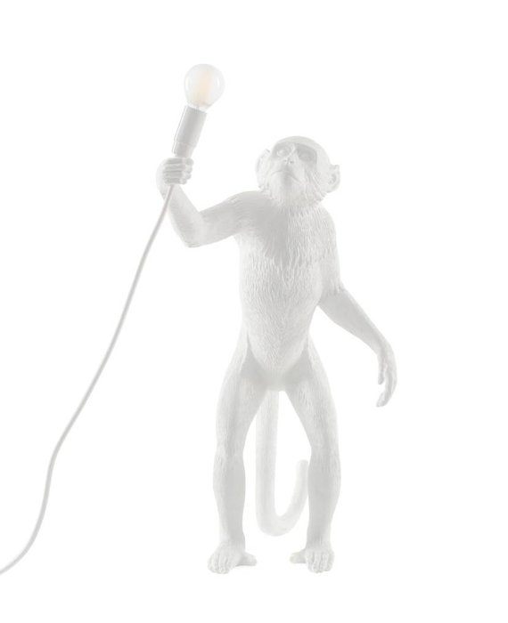 RESIN MONKEY LAMP - STANDING WHITE BY SELETTI
