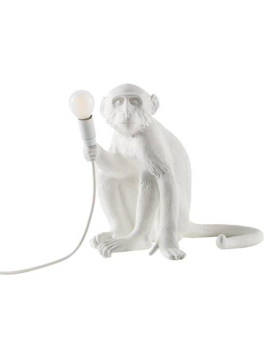 SELETTI RESIN MONKEY LAMP - SITTING (WHITE)