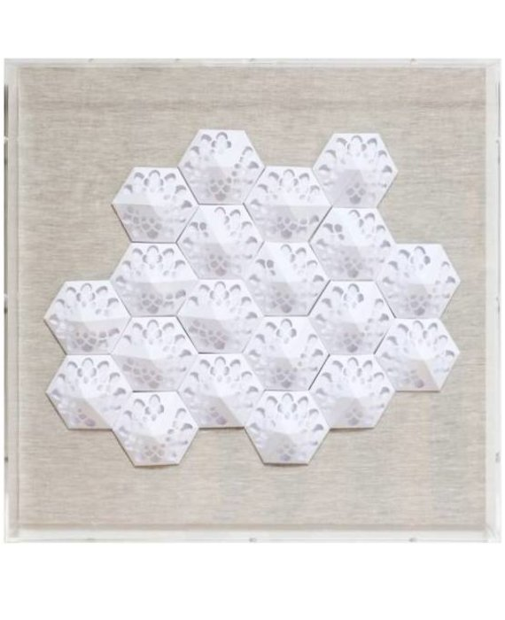JEN LIN JZ025-6 WHITE LACEY PAPER ART IN ACRYLIC