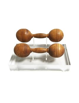 ANTIQUE WOOD BARBELLS ON LUCITE BLOCK MOUNT