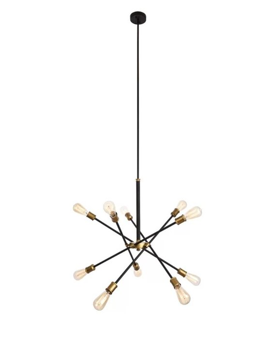 10-Light Sputnik Chandelier - Black & Brass