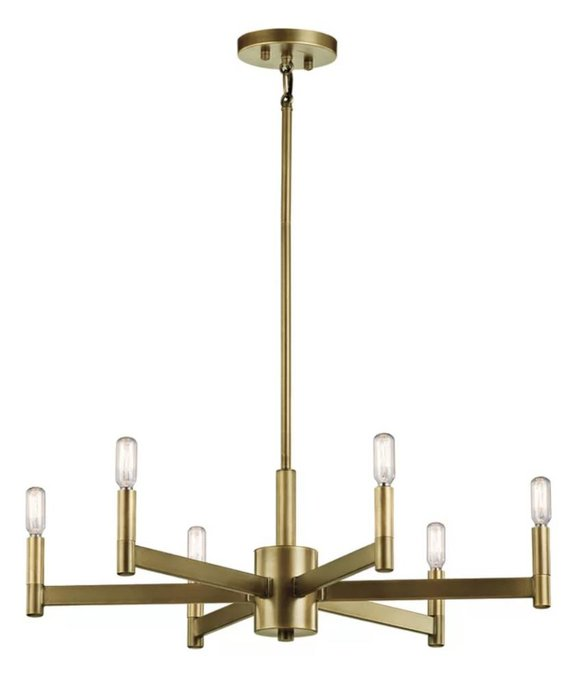 6-Light Candle-Style Chandelier - Natural Brass