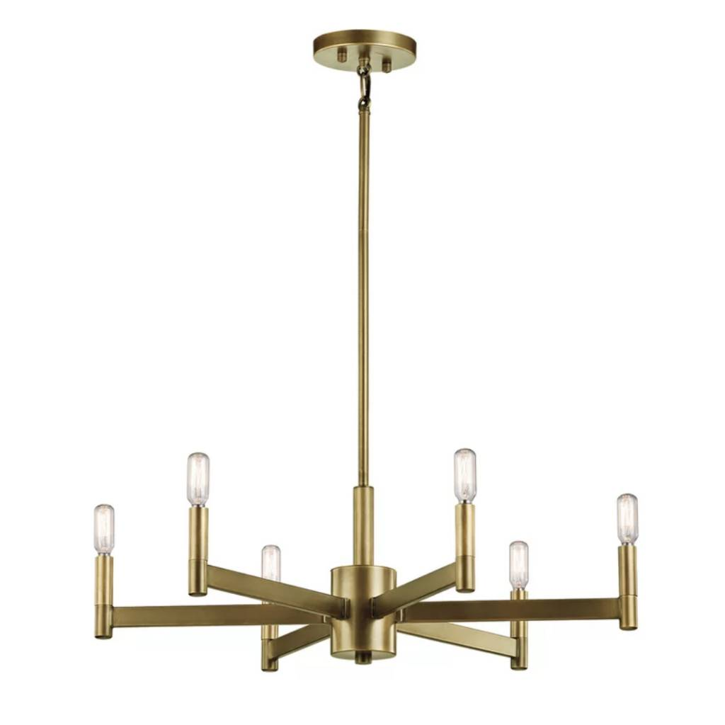 6 Light Candle Style Chandelier Natural Brass
