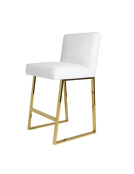 LINDEN BARSTOOL WHITE LEATHER BRASS