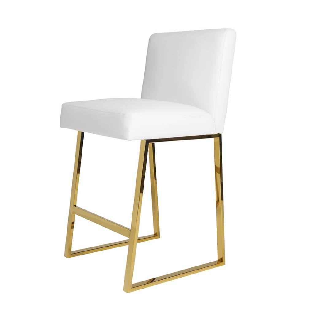 Linden bar stool white leather brass