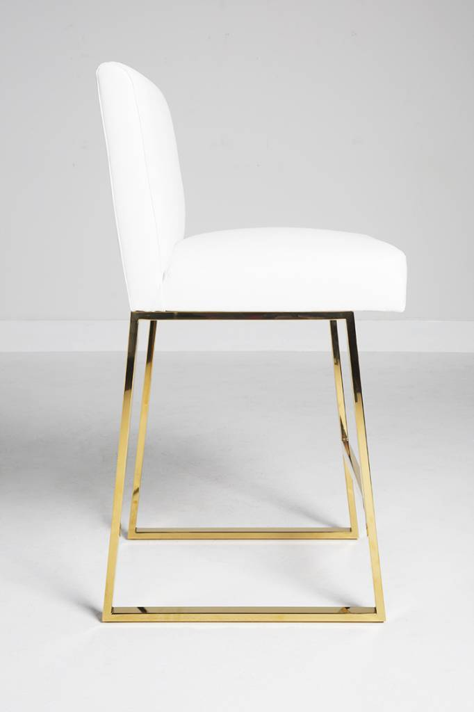 Linden Barstool White Leather Brass Scout Design Studio