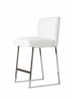 LINDEN BAR STOOL IN WHITE LEATHER CHROME